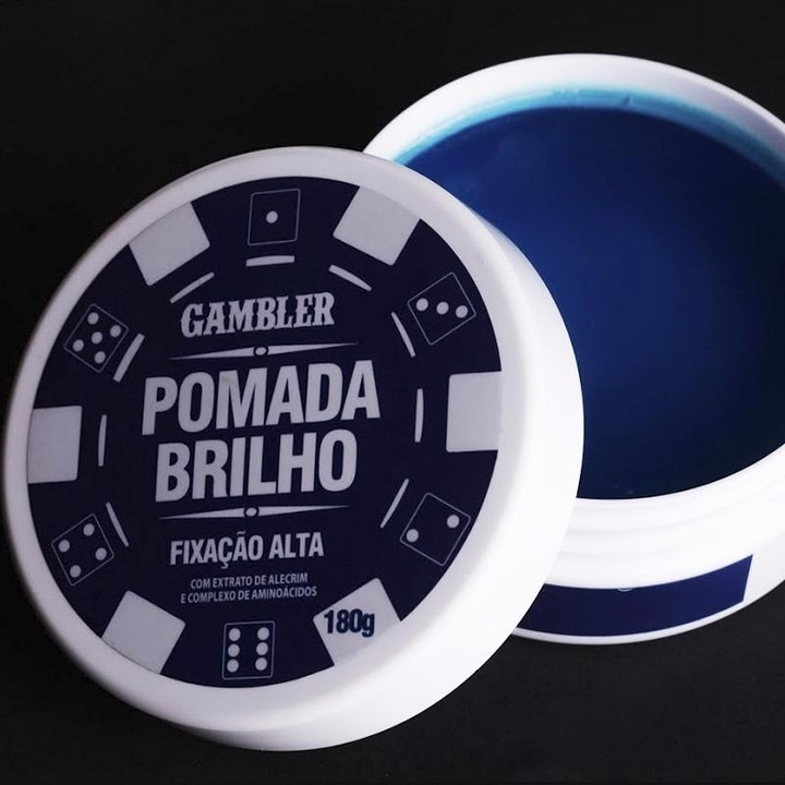 cd91bc01c 02 Pomada Efeito Brilho Alta Fixação 180g Gambler - R  128