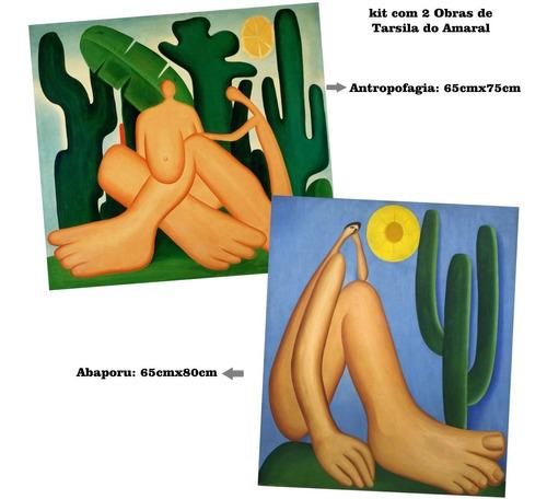 02 posters gravura tarsila do amaral abaporu + antropofagia