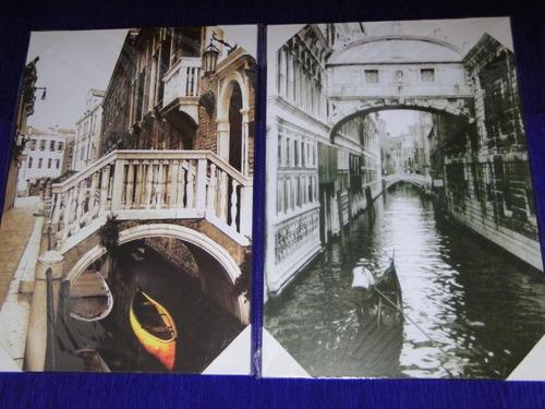 02 quadros 36 x 25 cm veneza italia gondola cidade alagada