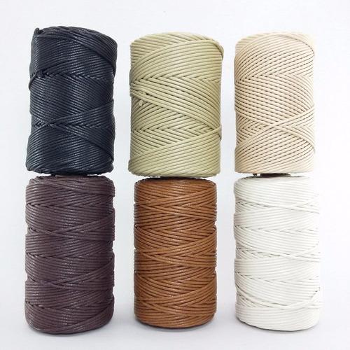02 rolos cordão fio encerado 1,5 mm algodão 100 mts nacional