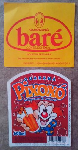 02 rótulos antigos refrigerantes guaraná baré e pixoxó