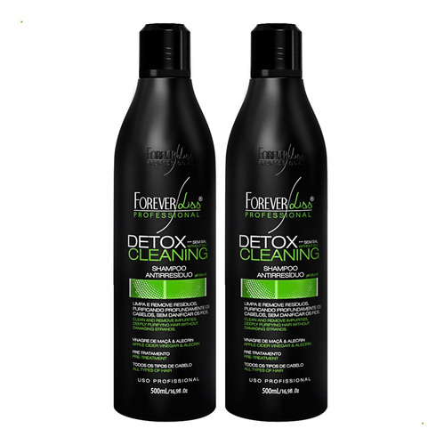 02 shampoo anti resíduo detox cleaning forever liss 500ml