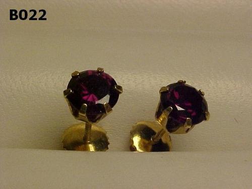 #022b - brincos em ouro 18k com ametista redonda