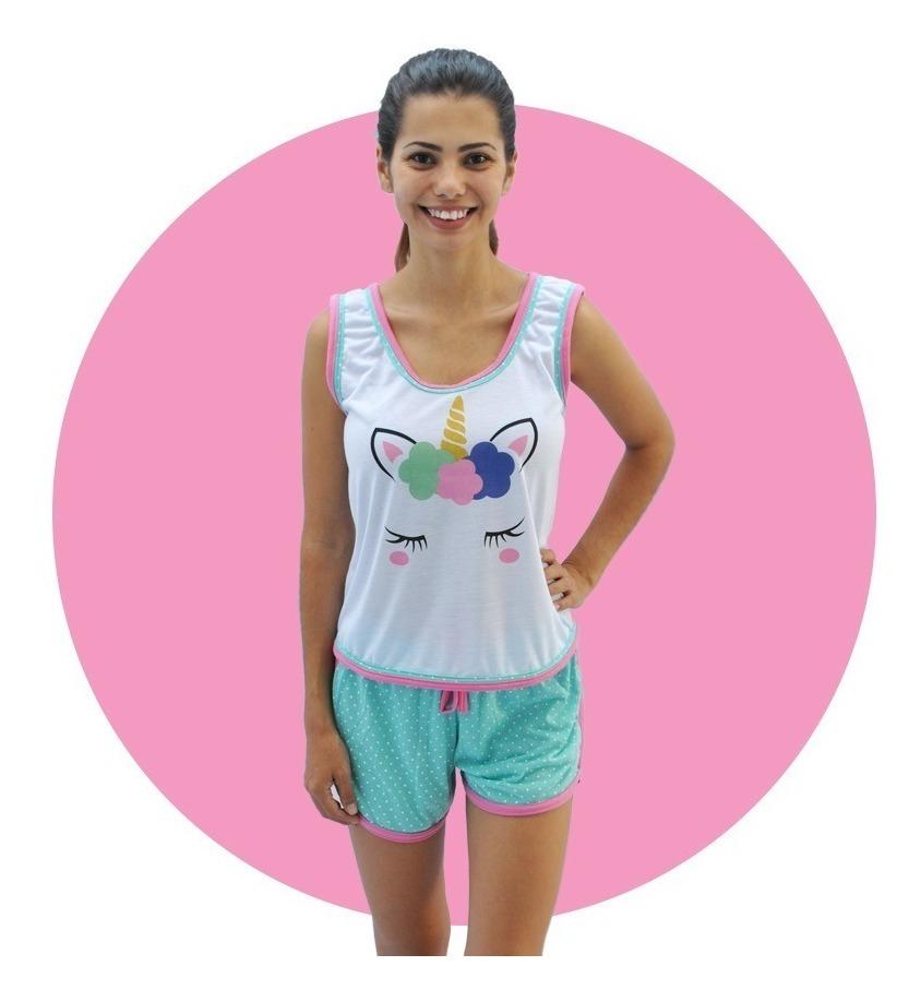 d03fc054c732f1 027 Baby Short Doll Camiseta Regata Unicórnio Adulto Atacado
