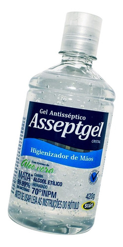 03 álcool em gel 70% asseptgel cristal 420g aloe vera start