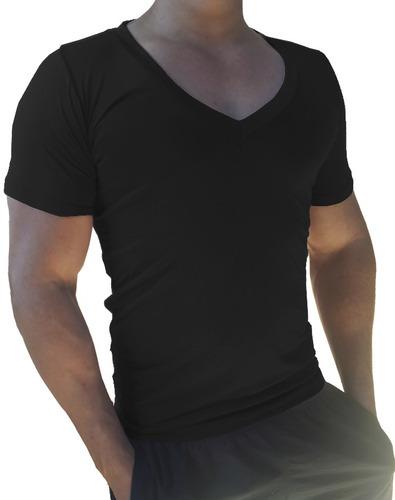 03 camisas masculina decote gola v cavada slim viscolycra mc
