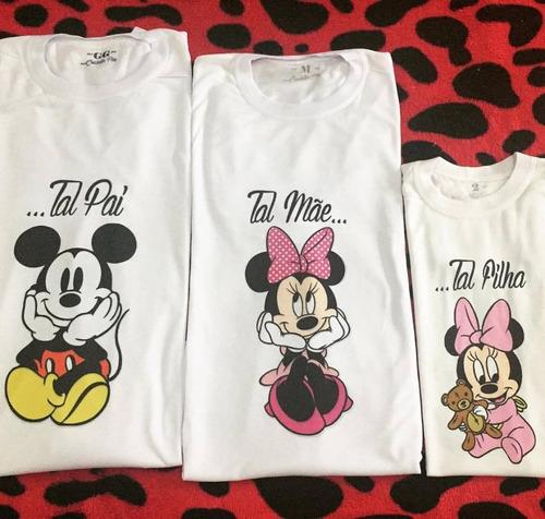 03 camisetas  - mãe / pai / filha - mickey e minnie