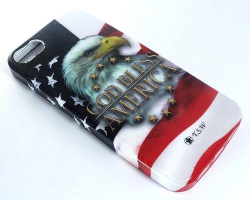 03 capas case iphone 5 desenho brilhante águia + película
