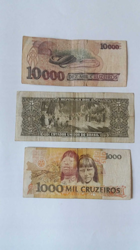 03 cédulas de dinheiro antigo - notas raras - coleção cod60