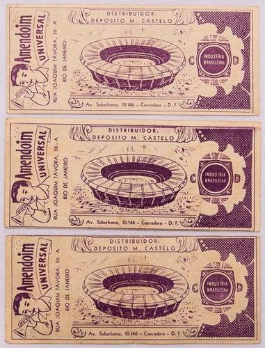 03 cédulas. jogadores do vasco. anos 50. amendoim universal.