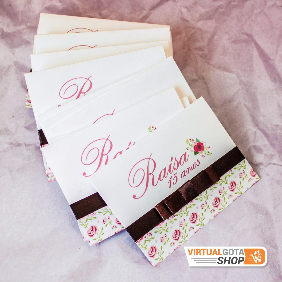 03 Convites Aniversário 15 Anos Com Coroa Tema Floral Rosa R 600