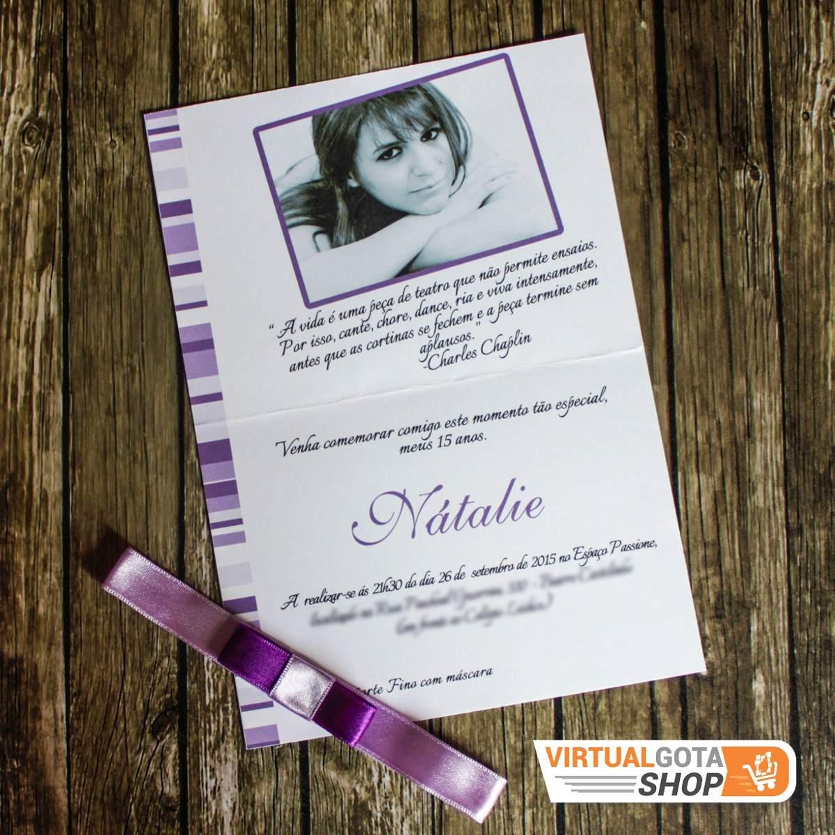 03 Convites De Aniversário E Debutante 15 Anos Lilás R 600 Em