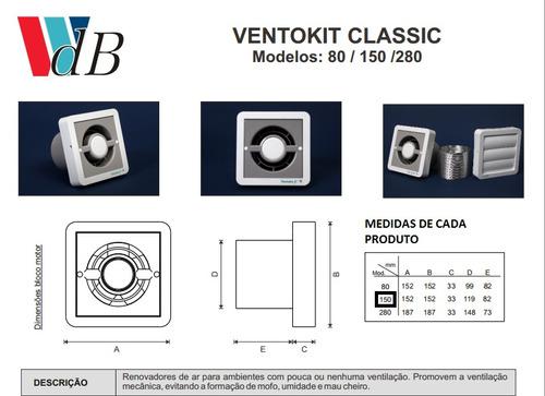 03 exaustor/renovador ar c 150 a 8m² bivolt ventokit wdb