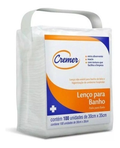 03 pacote lenço para banho no leito cremer com 100 unidades
