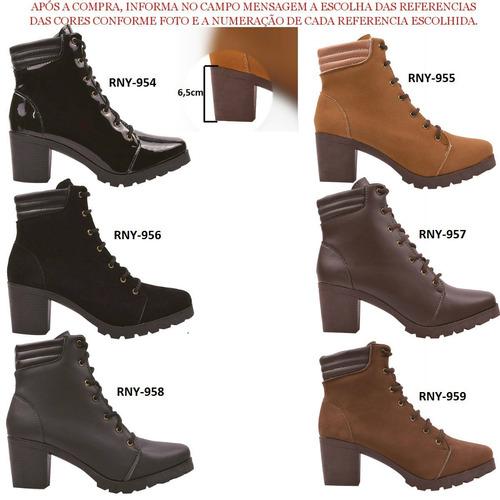 03 pares coturno bota montaria feminina cano curto jln111
