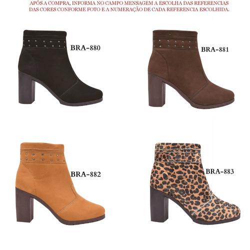 03 pares coturno bota sapato feminina cano curto jln/781