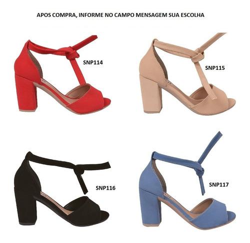 03 pares sandalia feminina salto alto grosso s2300