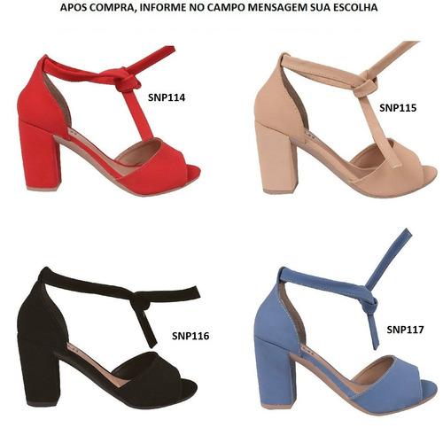 03 pares sandalia feminina salto alto grosso snp19/14