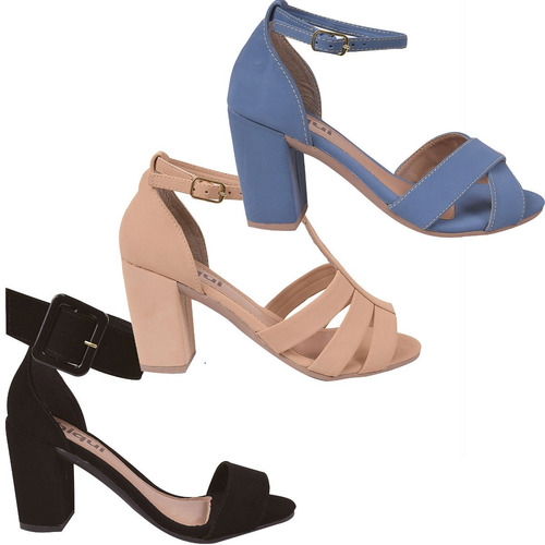 03 pares sandália sapato feminina chiquiteira chiqui/9815