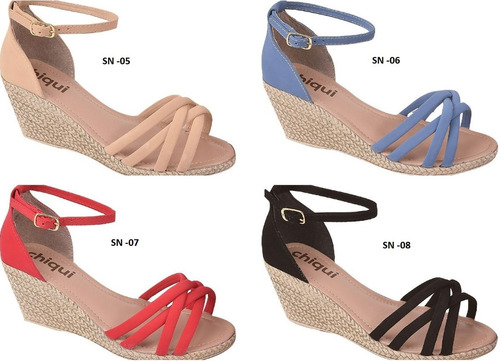 03 pares sandália sapato feminina chiquiteira chiqui/9865