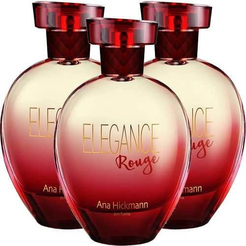 03 perfumes ana hickmann elegance rouge 3x80ml original