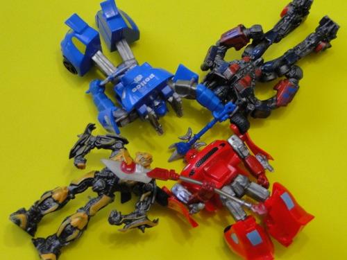 04 bonecos transformers fixos de plastico enfeites decoraçâo