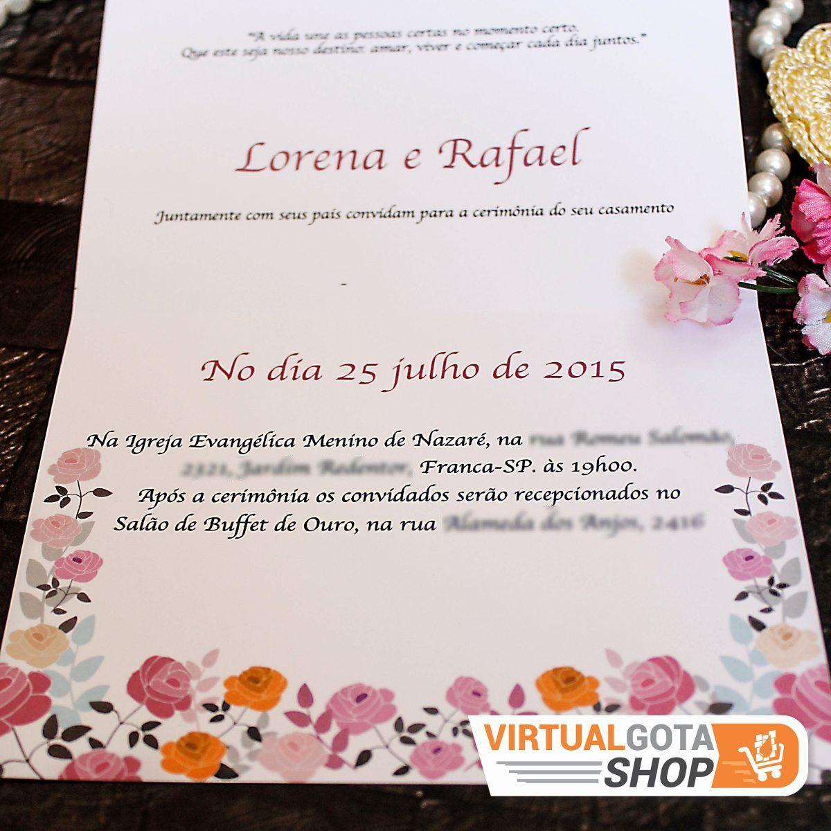 04 Convites De Casamento Baratos Sem Envelope Simples Bonito R 7