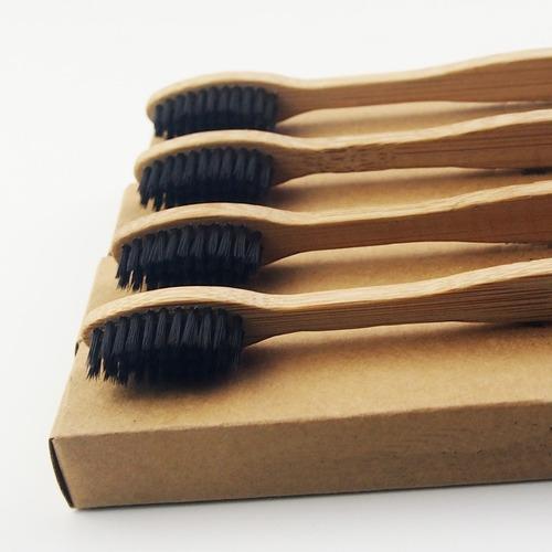 04 escovas de dente bambu e carvão vegetal - 100% ecológica