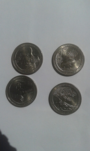 04 moedas. 25 cents . parques nacionais . estados unidos