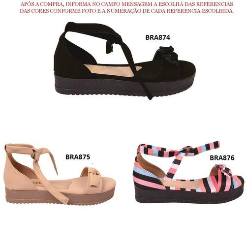 04 pares de sandalia feminina salto anabela tratorada sr101j
