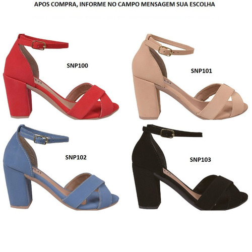 04 pares sandálias feminina salto alto grosso snp2300
