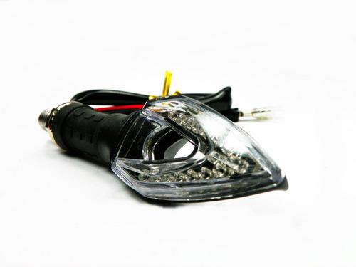 04 pisca led seta esportivo moto preto mod flecha 2 com rele