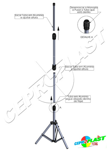 04 porta banner 1,80mt pedestal tripé suporte aluminio