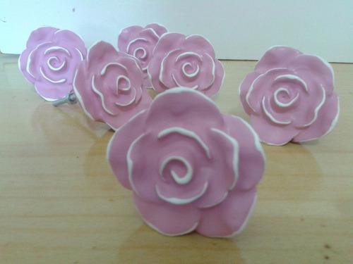 04 puxadores rosa provençal branca com borda preta