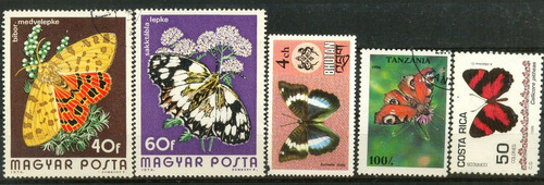 0451 mariposas dif países 5 sellos mint n h modernos