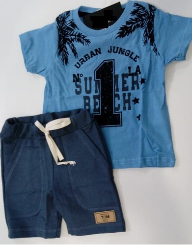 05 conjuntos camiseta bermuda moletinho tam 1 2 3 4 6 8