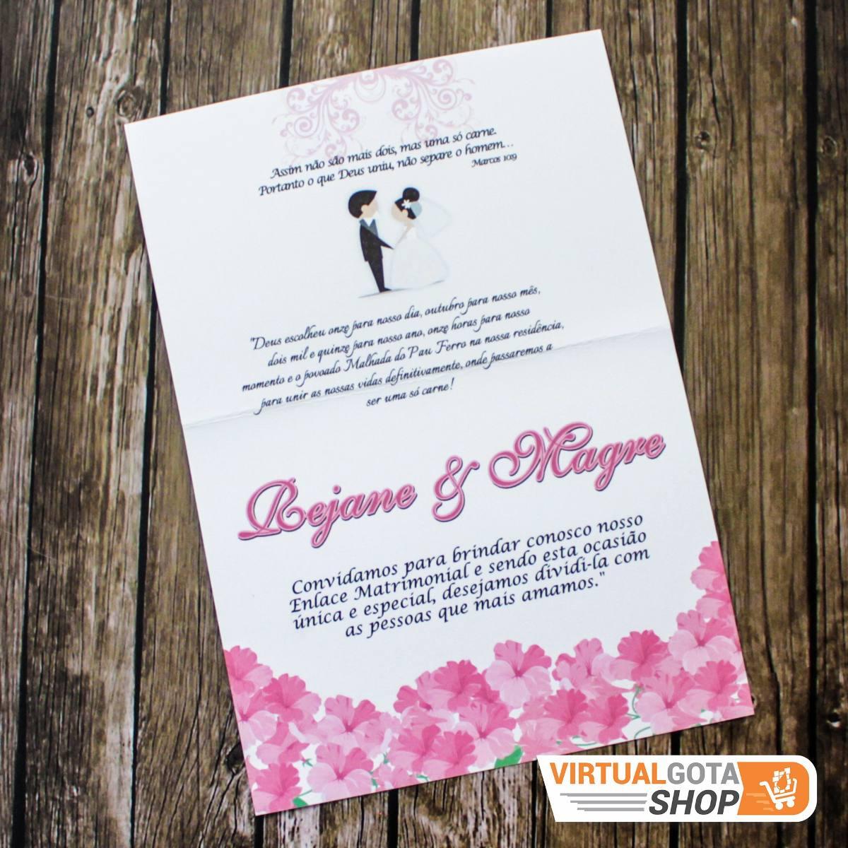 05 Convites De Casamento 15 Anos Simples Lindo E Barato R 795
