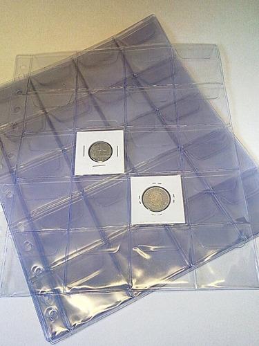 05 folhas para álbum 20 moedas bolsas com aba universal