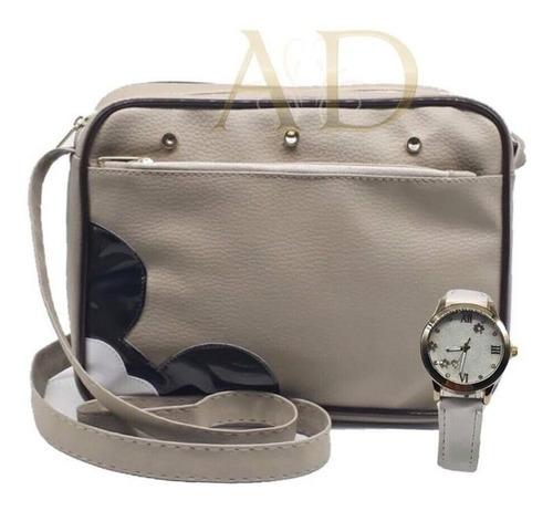 05 kit bolsa feminina transversal + relógio luxo + caixa