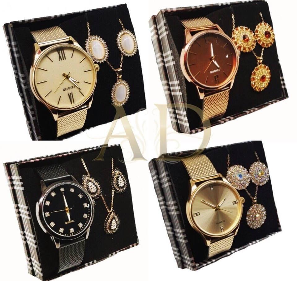 d93d4cd3132 05 kit relógio feminino + brinco e colar grande + caixa. Carregando zoom.