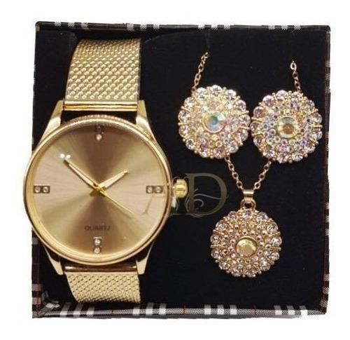 05 kit relógio feminino + brinco e colar luxo + caixa