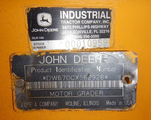 05) motoniveladora john deere 670c 1997