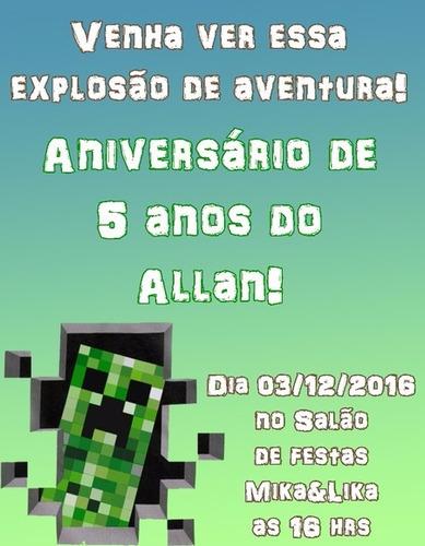 05 unid. convites personalizados minecraft