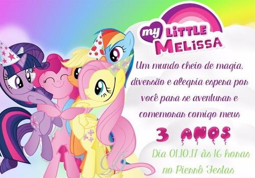 05 unid. convites personalizados my little pony