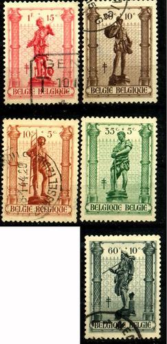 0556 esculturas belgica serie 5 sellos 1940-45