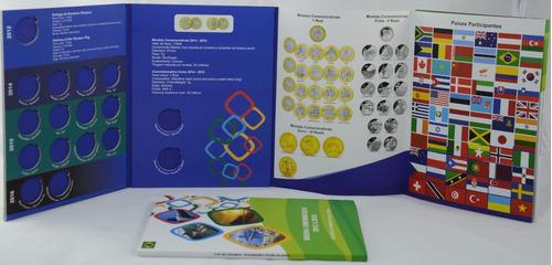 06 álbum p/ coleção de moedas de 1 real olimpíadas vazio