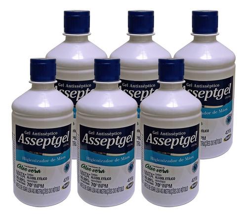 06 álcool em gel 70% asseptgel neutro pronta entrega 500ml