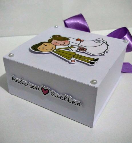 06 caixas convite lembrancinha casamento padrinhos noivinhos