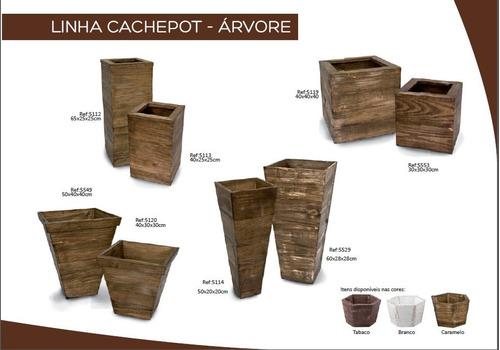 06 conj. vaso cachepot madeira arranjo flores 3547 3548