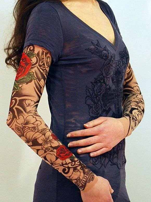 06 pares de manguito manga tattoo femininas tatuagem falsa - Mangas de tattoo ...